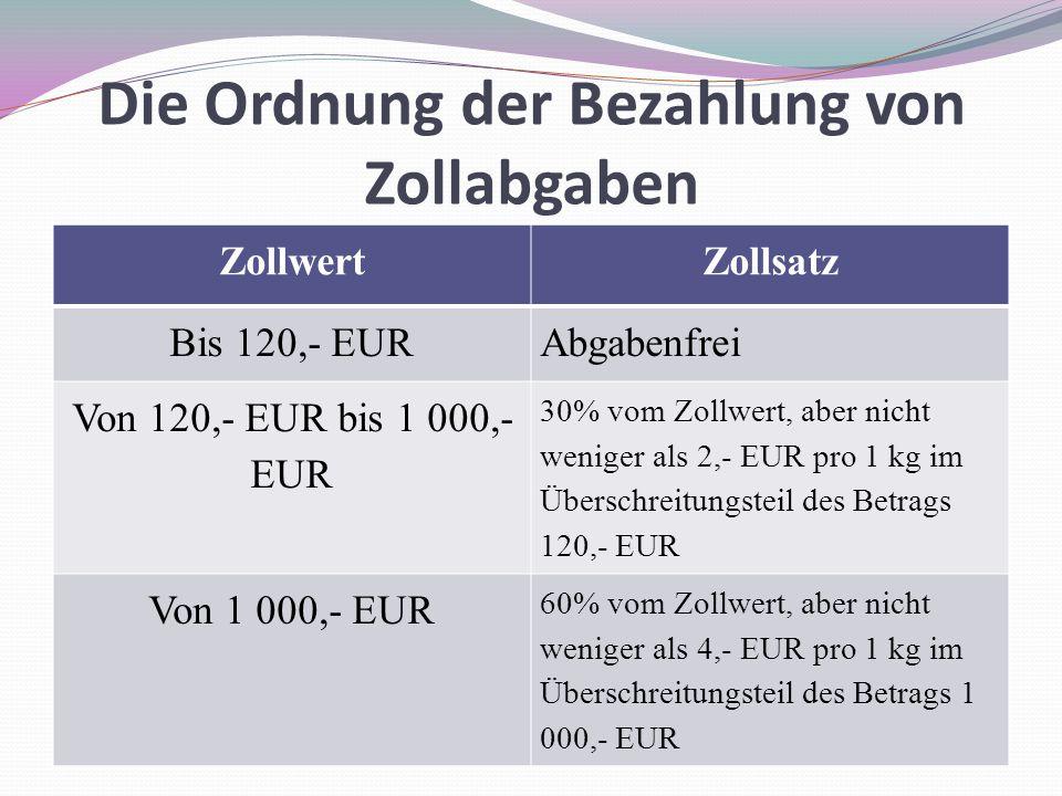 Die Ordnung der Bezahlung von Zollabgaben ZollwertZollsatz Bis 120,- EURAbgabenfrei Von 120,- EUR bis 1 000,- EUR 30% vom Zollwert, aber nicht weniger als 2,- EUR pro 1 kg im Überschreitungsteil des Betrags 120,- EUR Von 1 000,- EUR 60% vom Zollwert, aber nicht weniger als 4,- EUR pro 1 kg im Überschreitungsteil des Betrags 1 000,- EUR