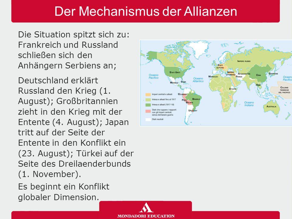 Der Mechanismus der Allianzen Die Situation spitzt sich zu: Frankreich und Russland schließen sich den Anhängern Serbiens an; Deutschland erklärt Russ