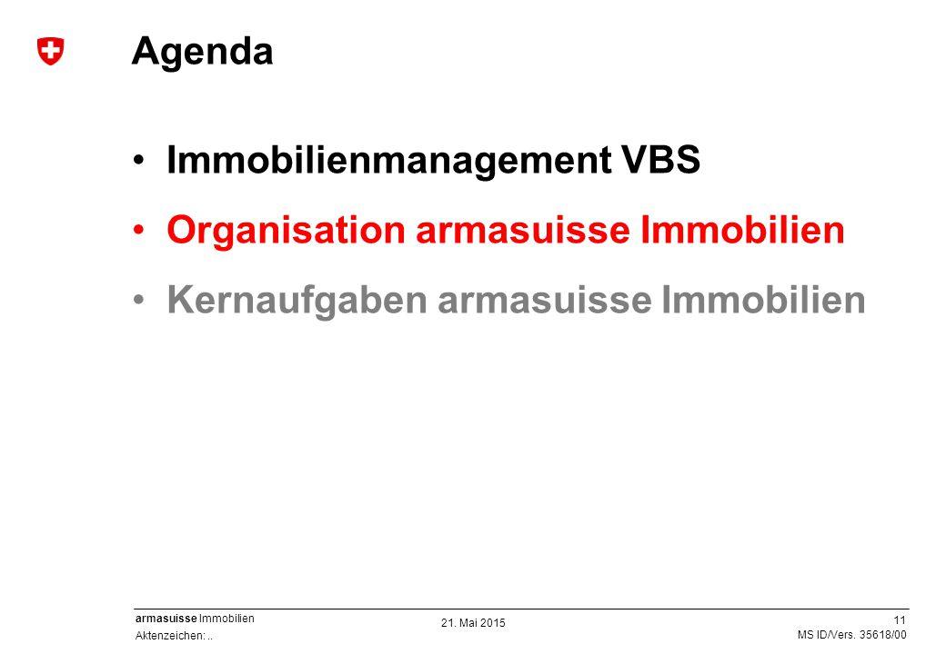 11 Aktenzeichen:.. MS ID/Vers. 35618/00 armasuisse Immobilien Immobilienmanagement VBS Organisation armasuisse Immobilien Kernaufgaben armasuisse Immo