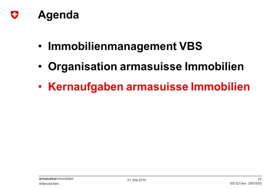 15 Aktenzeichen:.. MS ID/Vers. 35618/00 armasuisse Immobilien Immobilienmanagement VBS Organisation armasuisse Immobilien Kernaufgaben armasuisse Immo