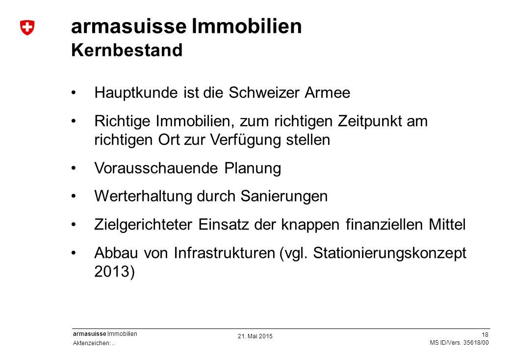 18 Aktenzeichen:.. MS ID/Vers. 35618/00 armasuisse Immobilien Hauptkunde ist die Schweizer Armee Richtige Immobilien, zum richtigen Zeitpunkt am richt