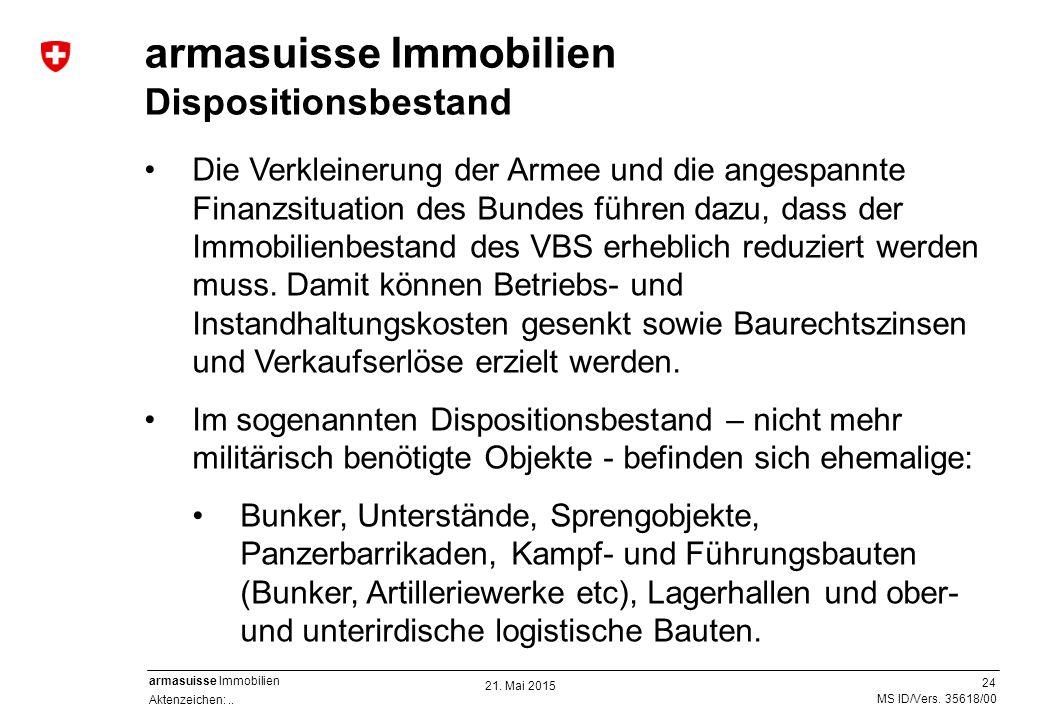 24 Aktenzeichen:.. MS ID/Vers. 35618/00 armasuisse Immobilien Die Verkleinerung der Armee und die angespannte Finanzsituation des Bundes führen dazu,