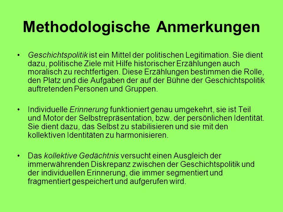 Methodologische Anmerkungen Geschichtspolitik ist ein Mittel der politischen Legitimation.
