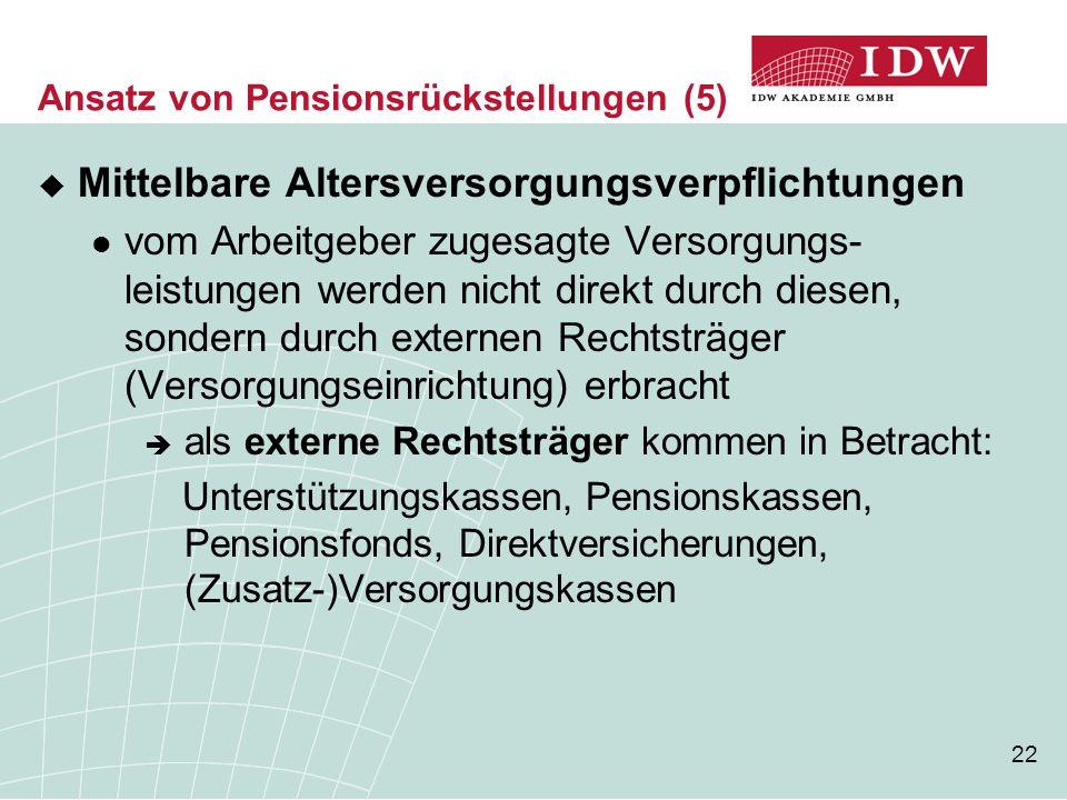 22 Ansatz von Pensionsrückstellungen (5)  Mittelbare Altersversorgungsverpflichtungen vom Arbeitgeber zugesagte Versorgungs- leistungen werden nicht