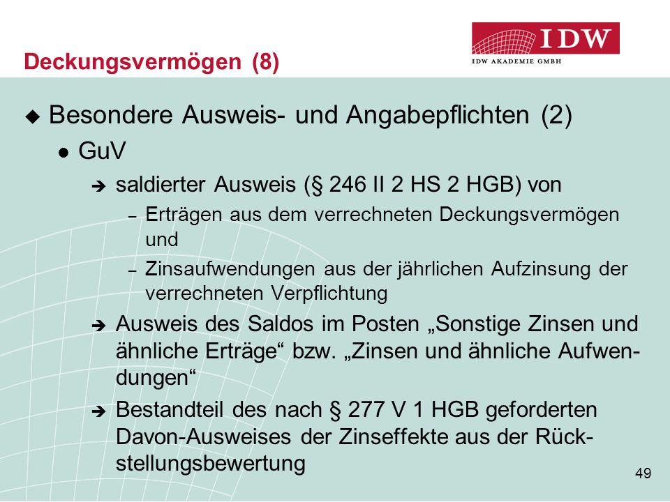 49 Deckungsvermögen (8)  Besondere Ausweis- und Angabepflichten (2) GuV  saldierter Ausweis (§ 246 II 2 HS 2 HGB) von – Erträgen aus dem verrechnete