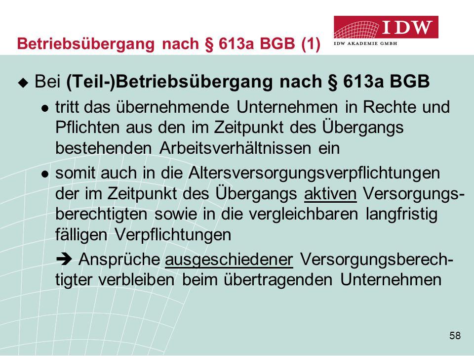 58  Bei (Teil-)Betriebsübergang nach § 613a BGB tritt das übernehmende Unternehmen in Rechte und Pflichten aus den im Zeitpunkt des Übergangs bestehe