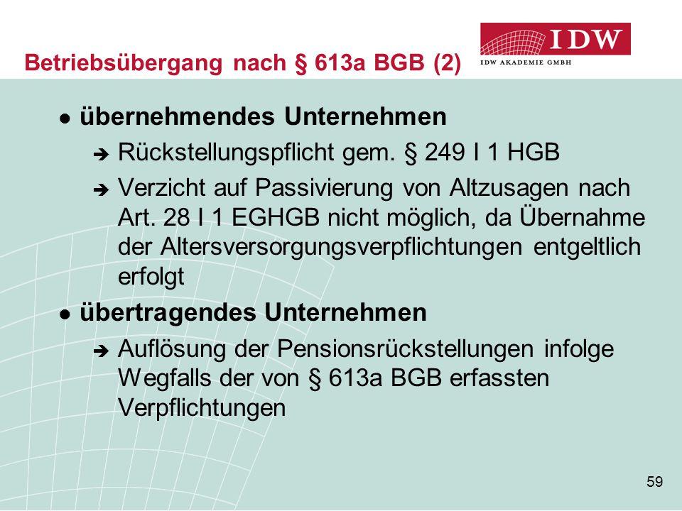59 übernehmendes Unternehmen  Rückstellungspflicht gem. § 249 I 1 HGB  Verzicht auf Passivierung von Altzusagen nach Art. 28 I 1 EGHGB nicht möglich