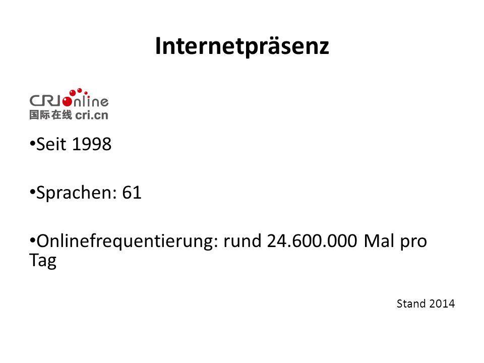 Internetpräsenz Seit 1998 Sprachen: 61 Onlinefrequentierung: rund 24.600.000 Mal pro Tag Stand 2014