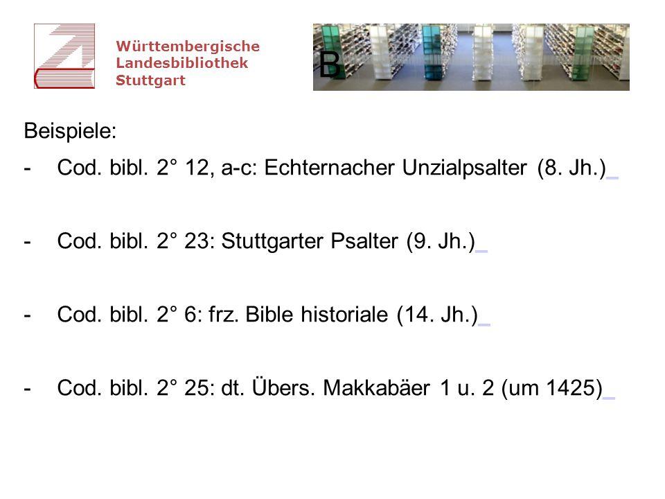 """Württembergische Landesbibliothek Stuttgart Erschließungsstand Projekt: zur Fallgruppe 2 """"Digitalisierung gut erschlossener Bestände zu 74 (von 95) Signaturen: Beschreibungen nach DFG-Standard vorhanden zu mittelalterlichen lateinischen Hss."""