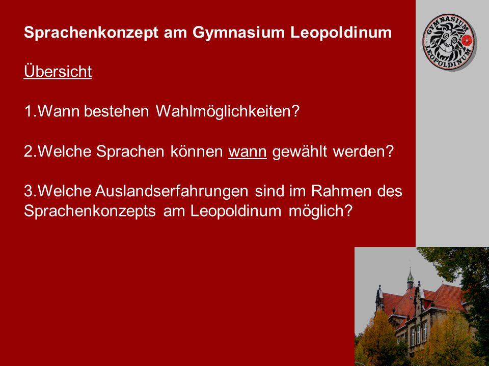 2 Sprachenkonzept am Gymnasium Leopoldinum Übersicht 1.Wann bestehen Wahlmöglichkeiten.