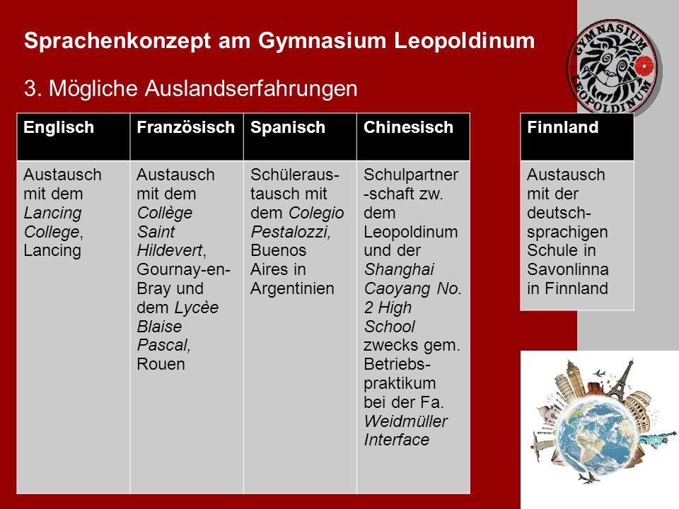 Sprachenkonzept am Gymnasium Leopoldinum 3.
