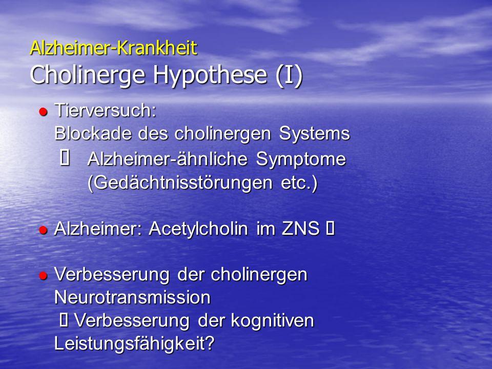 Alzheimer-Krankheit Cholinerge Hypothese (I) Tierversuch: Blockade des cholinergen Systems  Alzheimer-ähnliche Symptome (Gedächtnisstörungen etc.) Ti