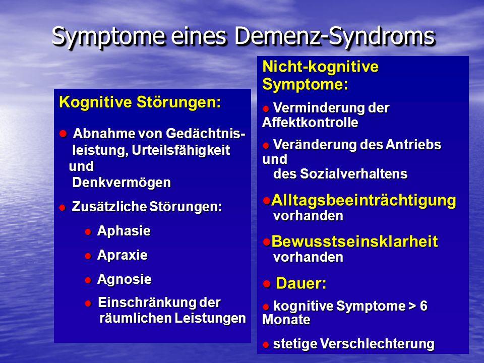 Symptome eines Demenz-Syndroms Kognitive Störungen: Abnahme von Gedächtnis- leistung, Urteilsfähigkeit und Denkvermögen Abnahme von Gedächtnis- leistu