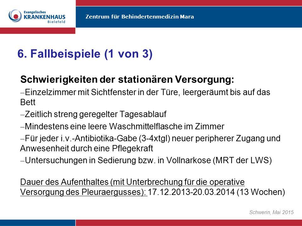Zentrum für Behindertenmedizin Mara Schwerin, Mai 2015 Schwierigkeiten der stationären Versorgung:  Einzelzimmer mit Sichtfenster in der Türe, leerge