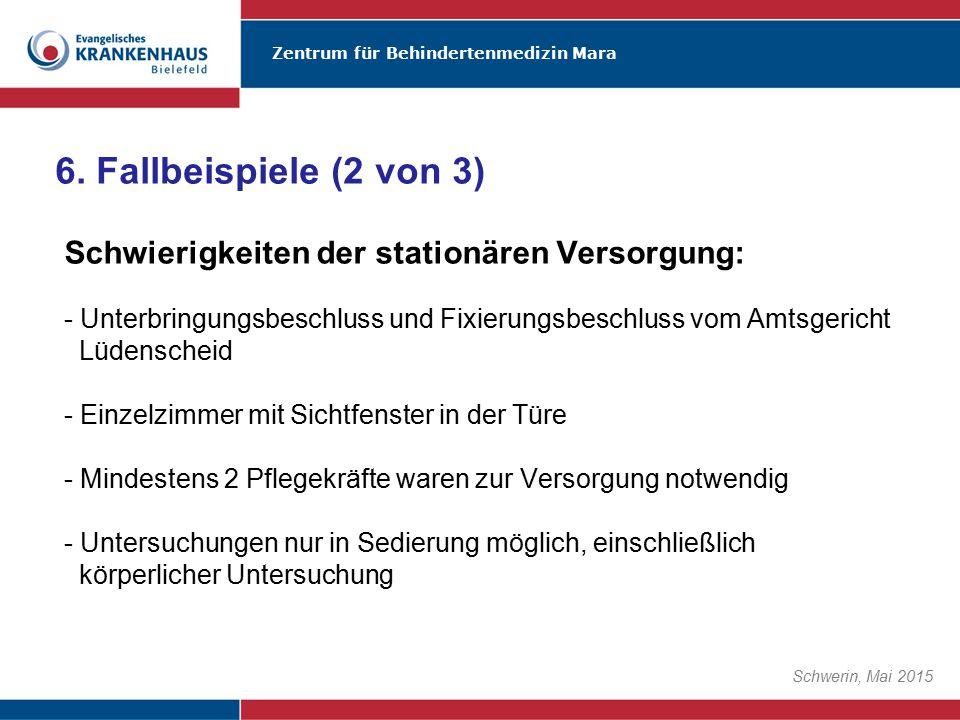 Zentrum für Behindertenmedizin Mara Schwerin, Mai 2015 Schwierigkeiten der stationären Versorgung: - Unterbringungsbeschluss und Fixierungsbeschluss v