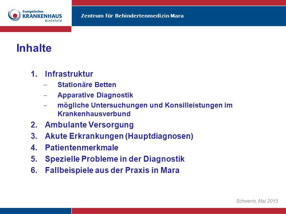 Zentrum für Behindertenmedizin Mara Schwerin, Mai 2015 Inhalte 1.Infrastruktur  Stationäre Betten  Apparative Diagnostik  mögliche Untersuchungen u