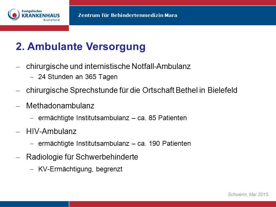 Zentrum für Behindertenmedizin Mara Schwerin, Mai 2015  chirurgische und internistische Notfall-Ambulanz  24 Stunden an 365 Tagen  chirurgische Spr