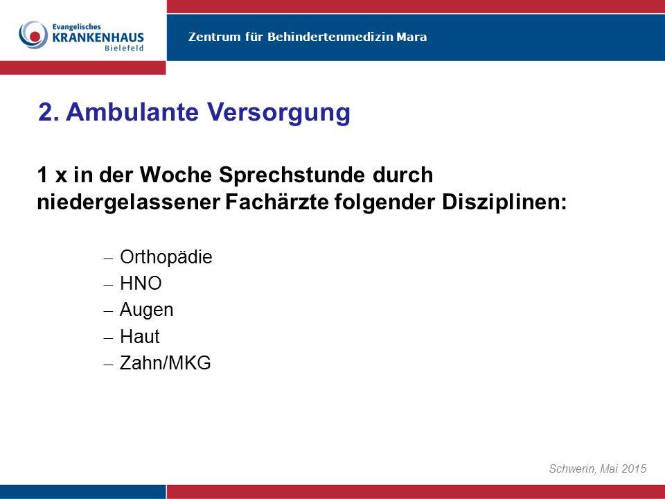 Zentrum für Behindertenmedizin Mara Schwerin, Mai 2015 1 x in der Woche Sprechstunde durch niedergelassener Fachärzte folgender Disziplinen:  Orthopä