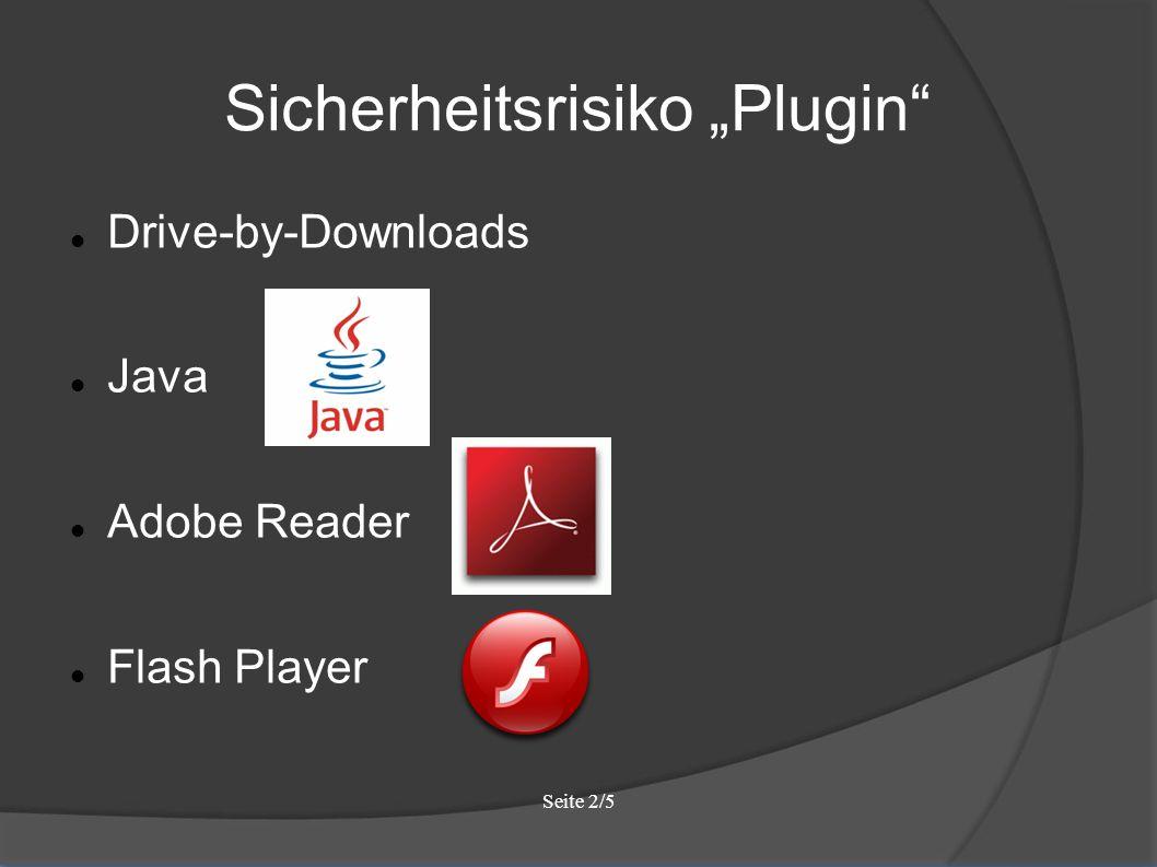 """Seite 2/5 Sicherheitsrisiko """"Plugin Drive-by-Downloads Java Adobe Reader Flash Player"""