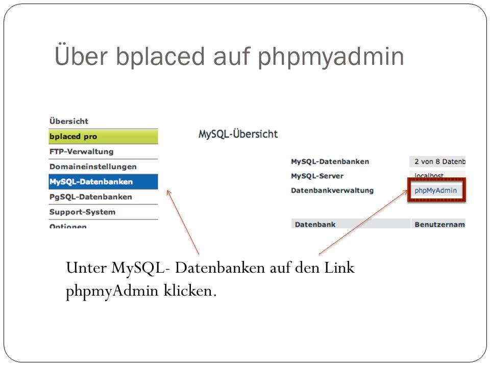 Über bplaced auf phpmyadmin Unter MySQL- Datenbanken auf den Link phpmyAdmin klicken.
