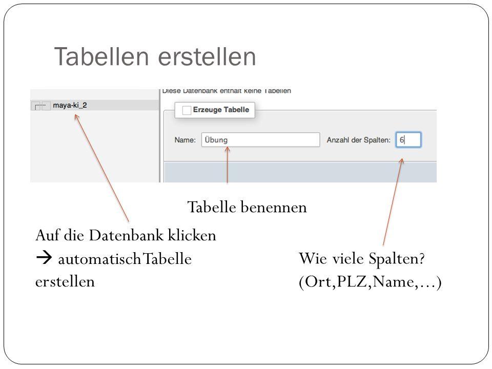 Tabellen erstellen Auf die Datenbank klicken  automatisch Tabelle erstellen Tabelle benennen Wie viele Spalten.