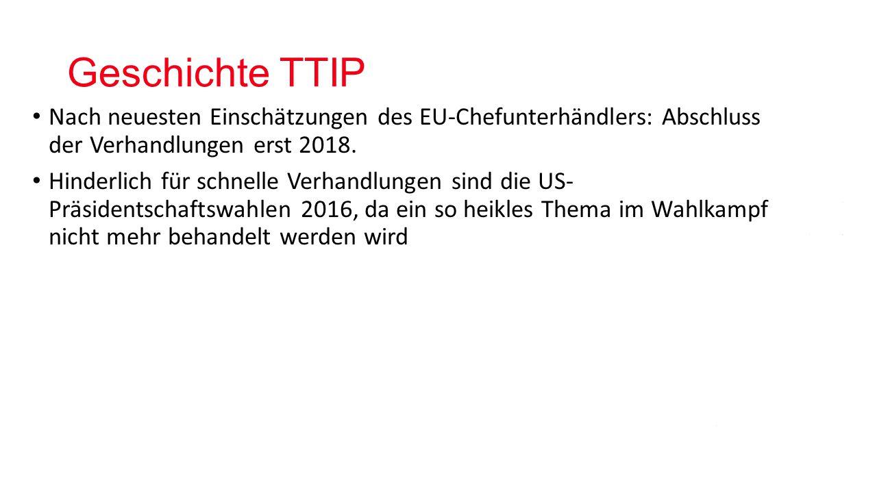 Geschichte TTIP Nach neuesten Einschätzungen des EU-Chefunterhändlers: Abschluss der Verhandlungen erst 2018.