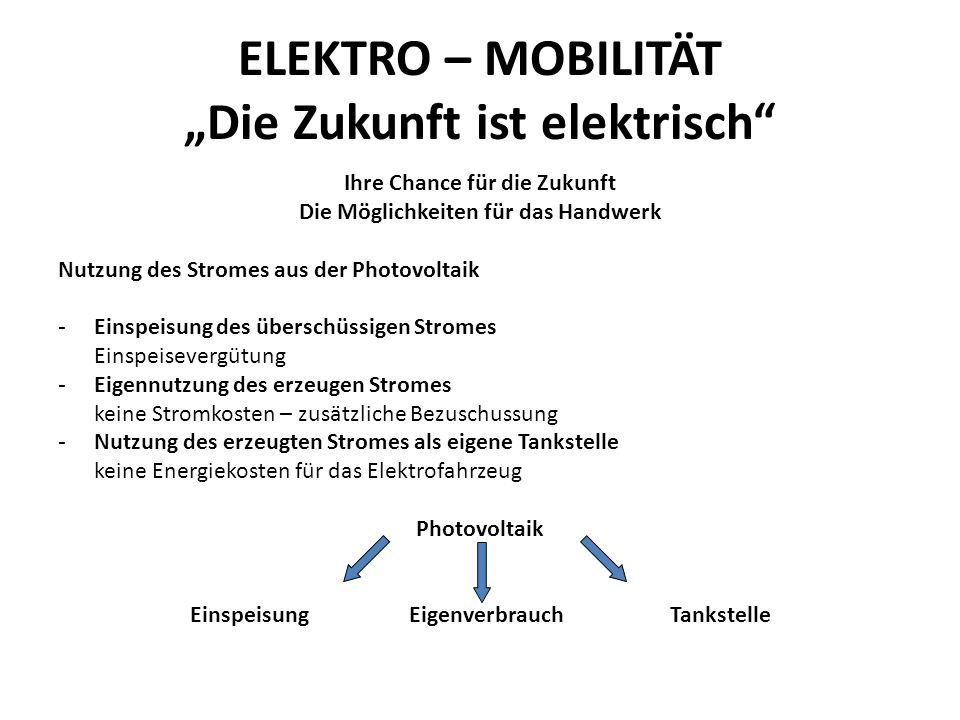 """ELEKTRO – MOBILITÄT """"Die Zukunft ist elektrisch Ihre Chance für die Zukunft Die Möglichkeiten für das Handwerk Nutzung des Stromes aus der Photovoltaik - Einspeisung des überschüssigen Stromes Einspeisevergütung - Eigennutzung des erzeugen Stromes keine Stromkosten – zusätzliche Bezuschussung - Nutzung des erzeugten Stromes als eigene Tankstelle keine Energiekosten für das Elektrofahrzeug Photovoltaik Einspeisung EigenverbrauchTankstelle"""