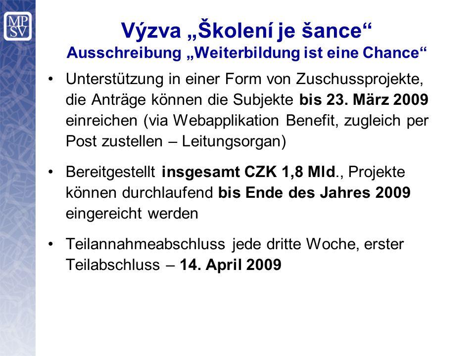 """Výzva """"Školení je šance Ausschreibung """"Weiterbildung ist eine Chance Unterstützung in einer Form von Zuschussprojekte, die Anträge können die Subjekte bis 23."""