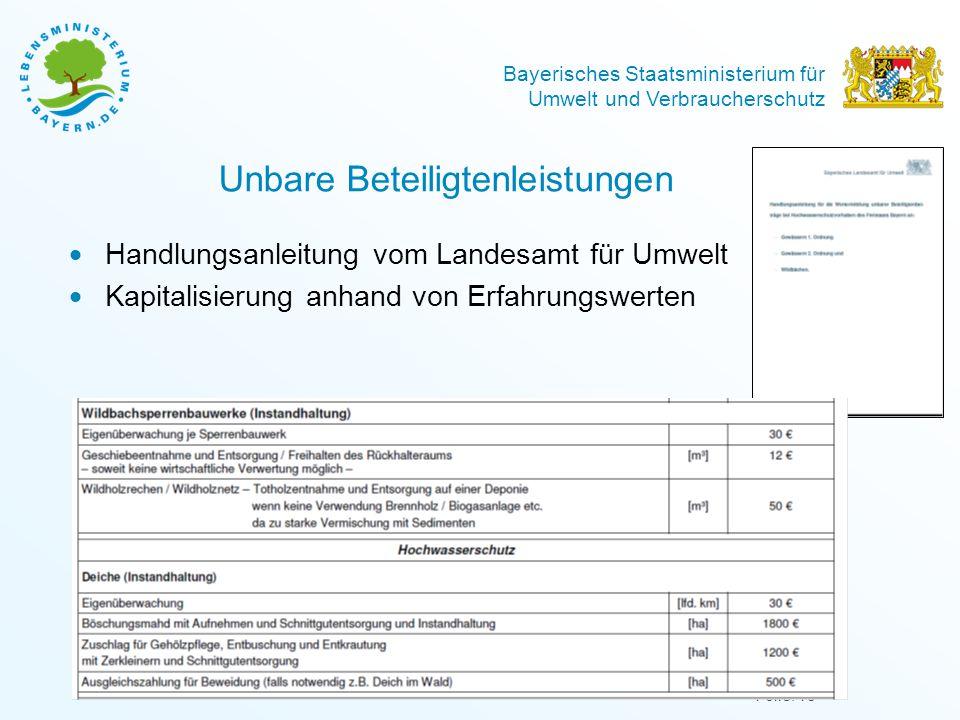 Bayerisches Staatsministerium für Umwelt und Verbraucherschutz Unbare Beteiligtenleistungen  Handlungsanleitung vom Landesamt für Umwelt  Kapitalisi