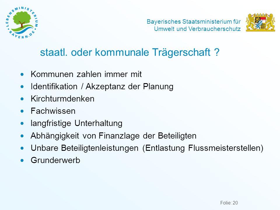 Bayerisches Staatsministerium für Umwelt und Verbraucherschutz staatl. oder kommunale Trägerschaft ?  Kommunen zahlen immer mit  Identifikation / Ak