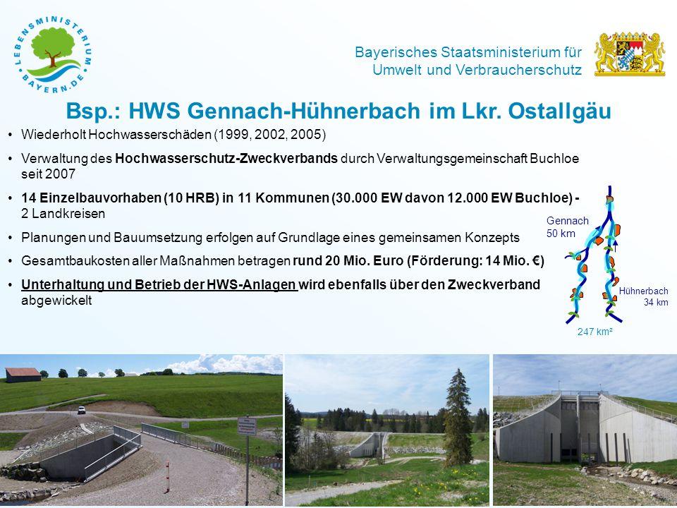 Bayerisches Staatsministerium für Umwelt und Verbraucherschutz Bsp.: HWS Gennach-Hühnerbach im Lkr. Ostallgäu Wiederholt Hochwasserschäden (1999, 2002