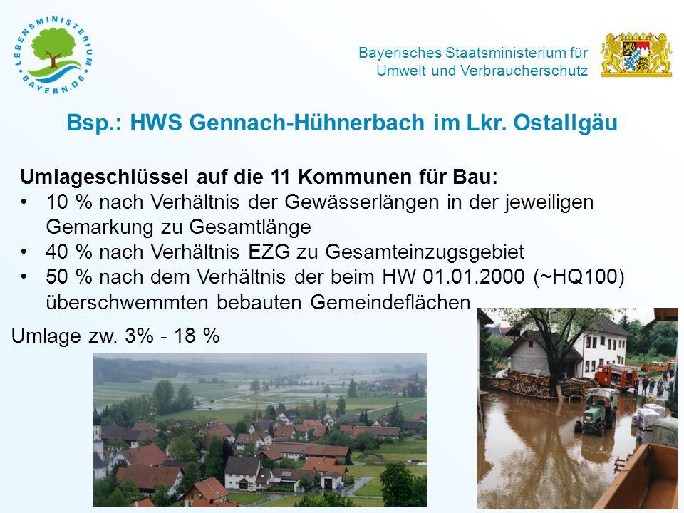 Bayerisches Staatsministerium für Umwelt und Verbraucherschutz 8 Bsp.: HWS Gennach-Hühnerbach im Lkr. Ostallgäu Umlageschlüssel auf die 11 Kommunen fü