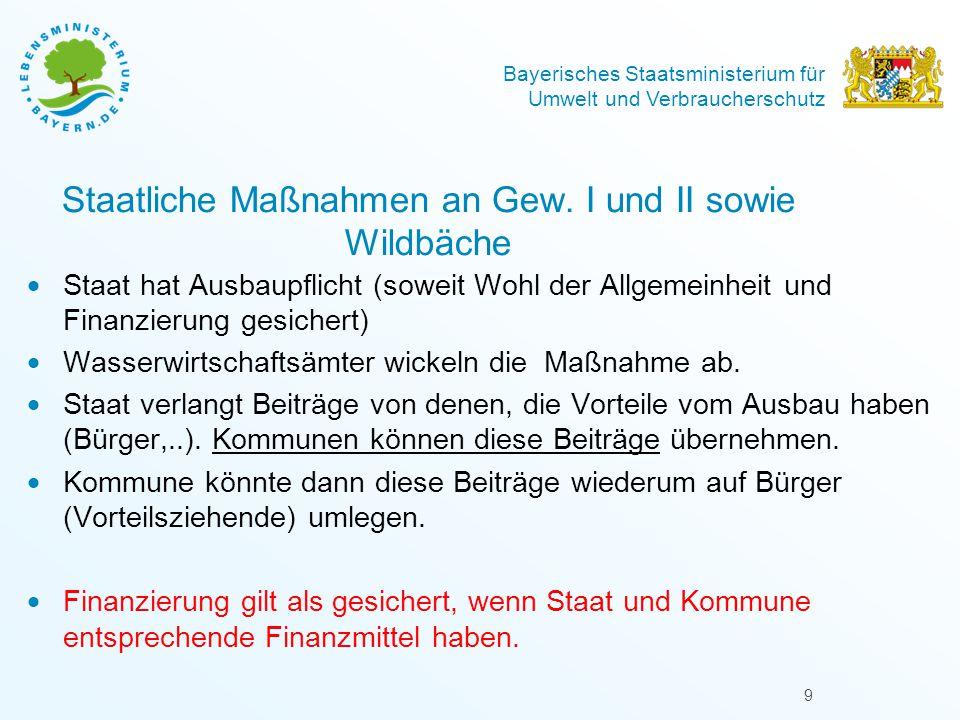 Bayerisches Staatsministerium für Umwelt und Verbraucherschutz 9 Staatliche Maßnahmen an Gew. I und II sowie Wildbäche  Staat hat Ausbaupflicht (sowe