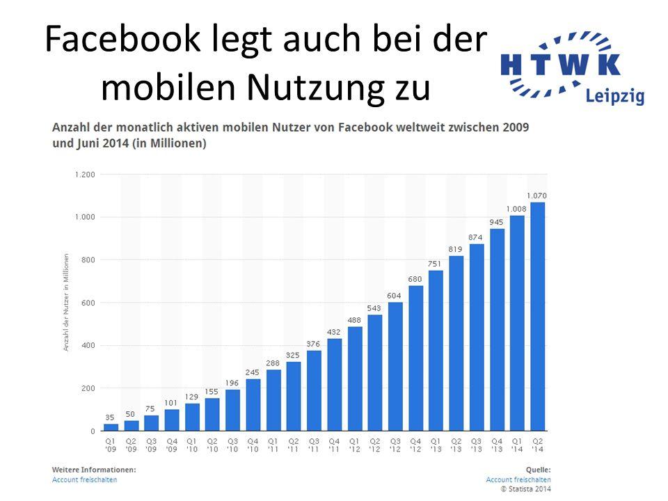 Facebook legt auch bei der mobilen Nutzung zu