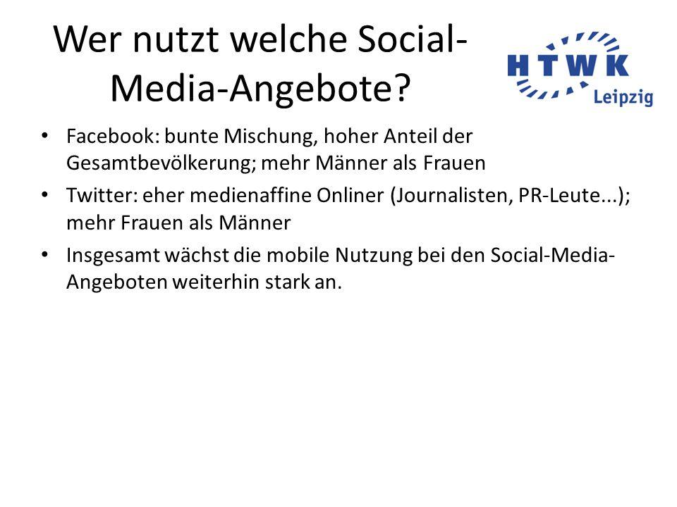 Wer nutzt welche Social- Media-Angebote.