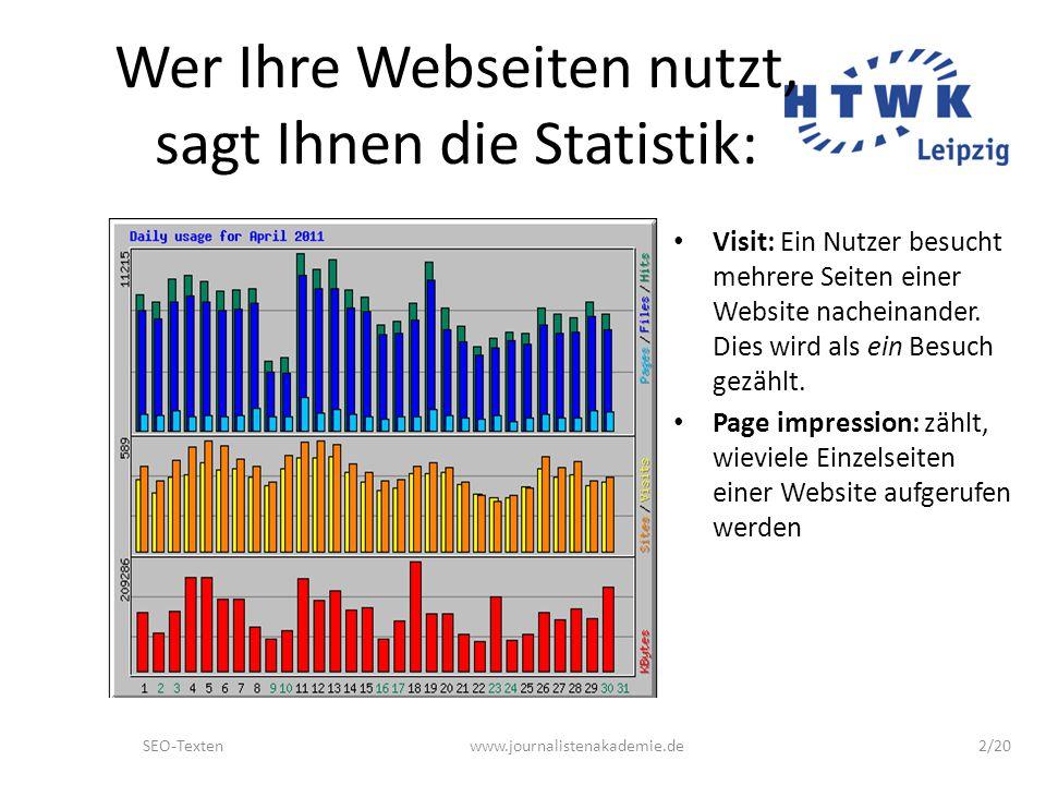 SEO-Textenwww.journalistenakademie.de3/20 Wonach suchen die Leute.