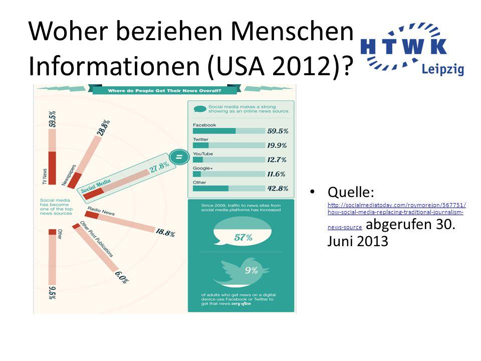 Woher beziehen Menschen Informationen (USA 2012).