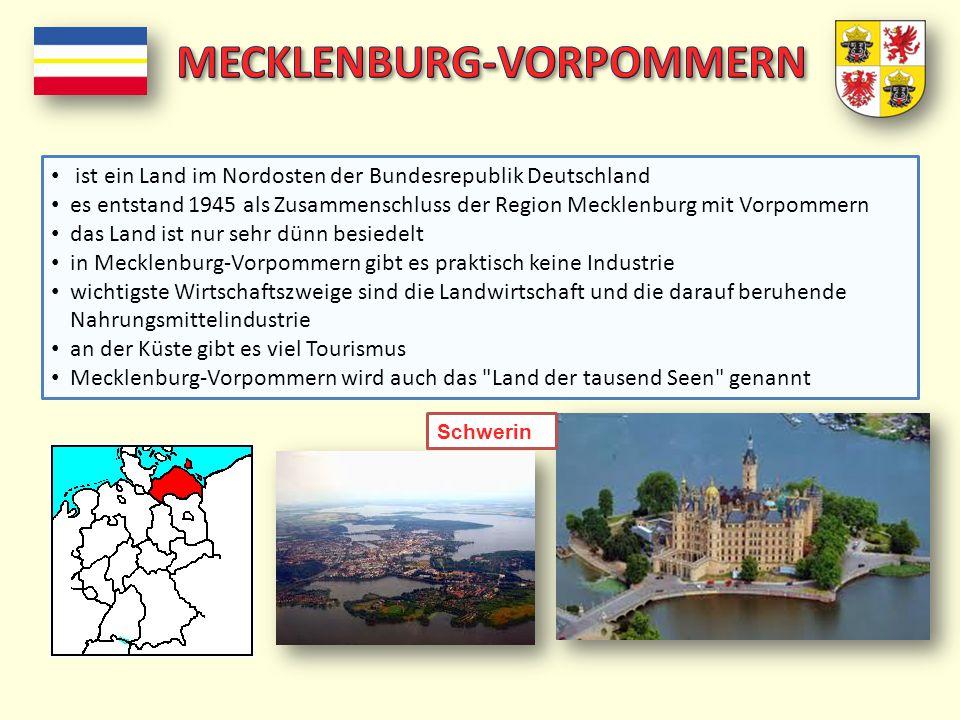 ist ein Land im Nordosten der Bundesrepublik Deutschland es entstand 1945 als Zusammenschluss der Region Mecklenburg mit Vorpommern das Land ist nur s