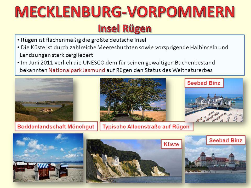 Rügen ist flächenmäßig die größte deutsche Insel Die Küste ist durch zahlreiche Meeresbuchten sowie vorsprigende Halbinseln und Landzungen stark zergl