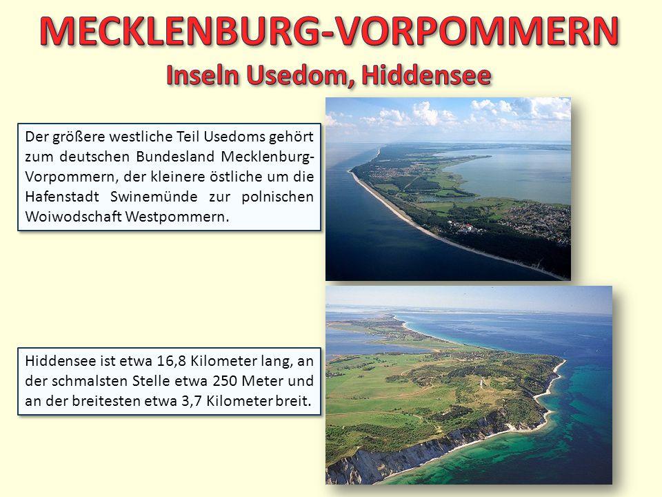 Der größere westliche Teil Usedoms gehört zum deutschen Bundesland Mecklenburg- Vorpommern, der kleinere östliche um die Hafenstadt Swinemünde zur pol