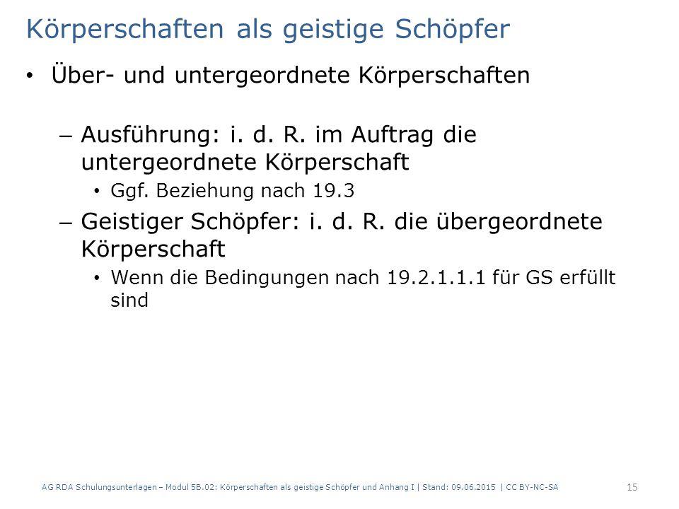 Körperschaften als geistige Schöpfer Über- und untergeordnete Körperschaften – Ausführung: i.