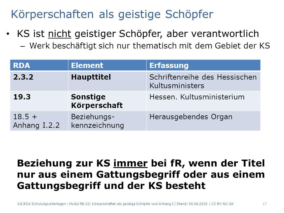 Körperschaften als geistige Schöpfer KS ist nicht geistiger Schöpfer, aber verantwortlich – Werk beschäftigt sich nur thematisch mit dem Gebiet der KS Beziehung zur KS immer bei fR, wenn der Titel nur aus einem Gattungsbegriff oder aus einem Gattungsbegriff und der KS besteht AG RDA Schulungsunterlagen – Modul 5B.02: Körperschaften als geistige Schöpfer und Anhang I | Stand: 09.06.2015 | CC BY-NC-SA17 RDAElementErfassung 2.3.2HaupttitelSchriftenreihe des Hessischen Kultusministers 19.3Sonstige Körperschaft Hessen.