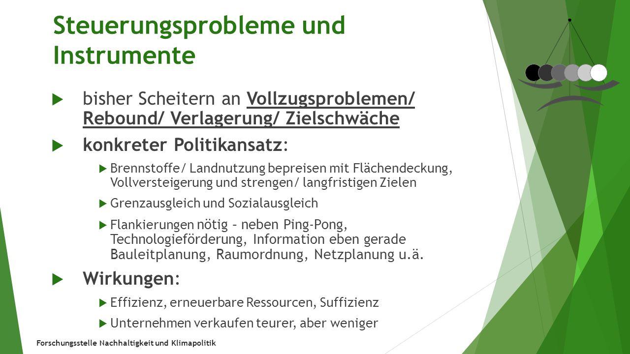 Forschungsstelle Nachhaltigkeit und Klimapolitik Steuerungsprobleme und Instrumente  bisher Scheitern an Vollzugsproblemen/ Rebound/ Verlagerung/ Zie