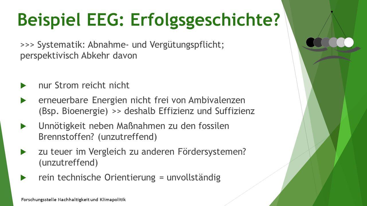 Forschungsstelle Nachhaltigkeit und Klimapolitik Beispiel EEG: Erfolgsgeschichte? >>> Systematik: Abnahme- und Vergütungspflicht; perspektivisch Abkeh