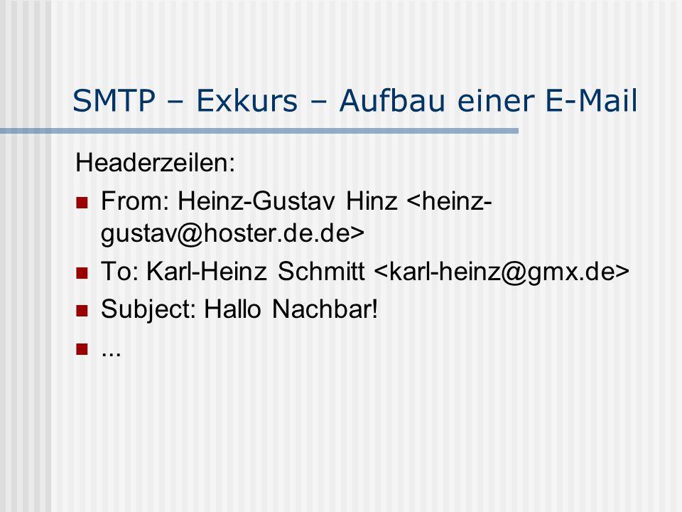 SMTP – Exkurs – Aufbau einer E-Mail Headerzeilen: From: Heinz-Gustav Hinz To: Karl-Heinz Schmitt Subject: Hallo Nachbar!...