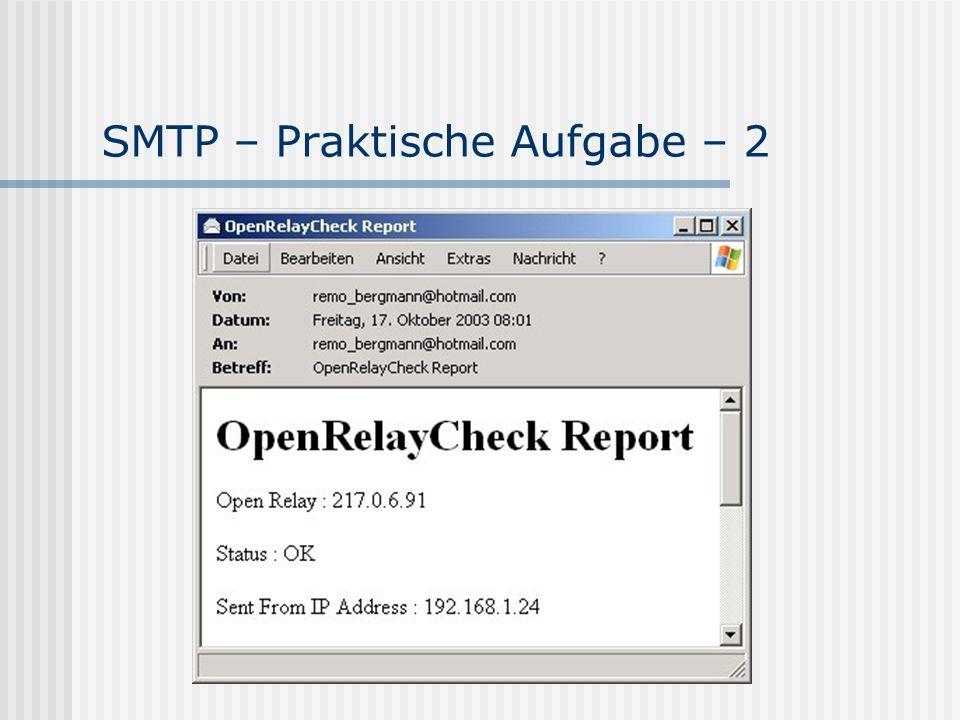 SMTP – Praktische Aufgabe – 2
