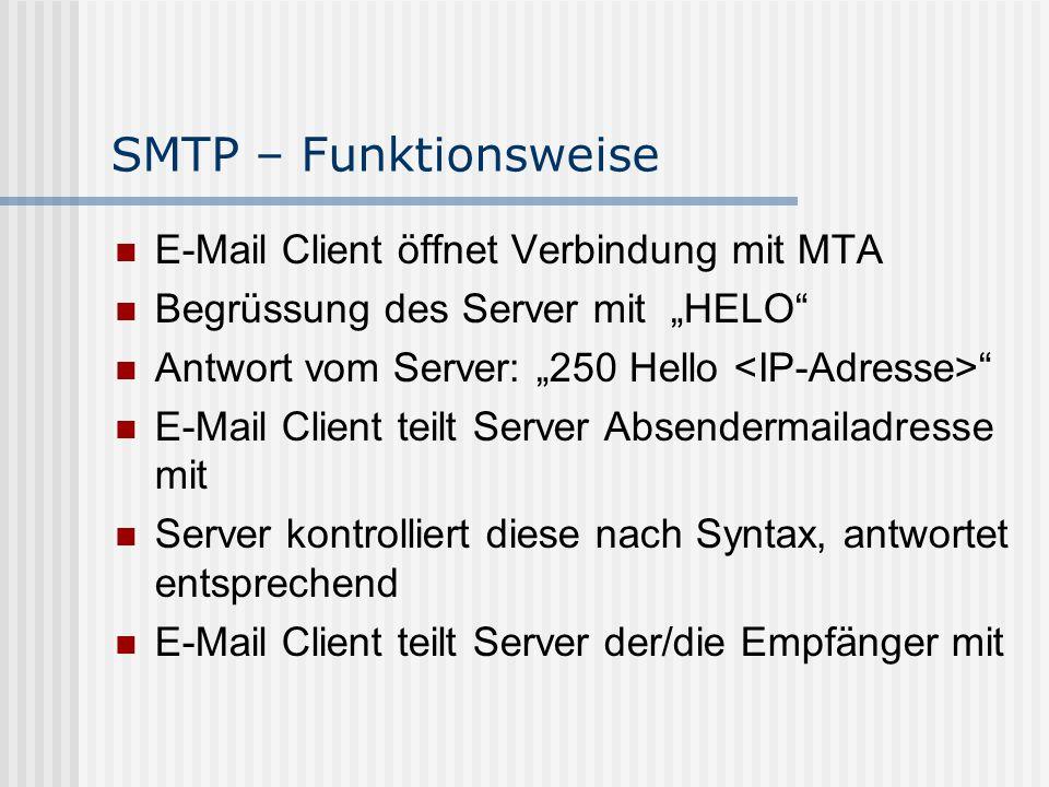 """SMTP – Das Problem keine Identifizierung des Versenders von einer Mail SMTP """"glaubt dem Benutzer alles Grund: Problem wurde nicht erkannt im ARPANET Ergebnis: Millionen von Spam-Mails  Verweis: Spamfilter - Übersicht"""