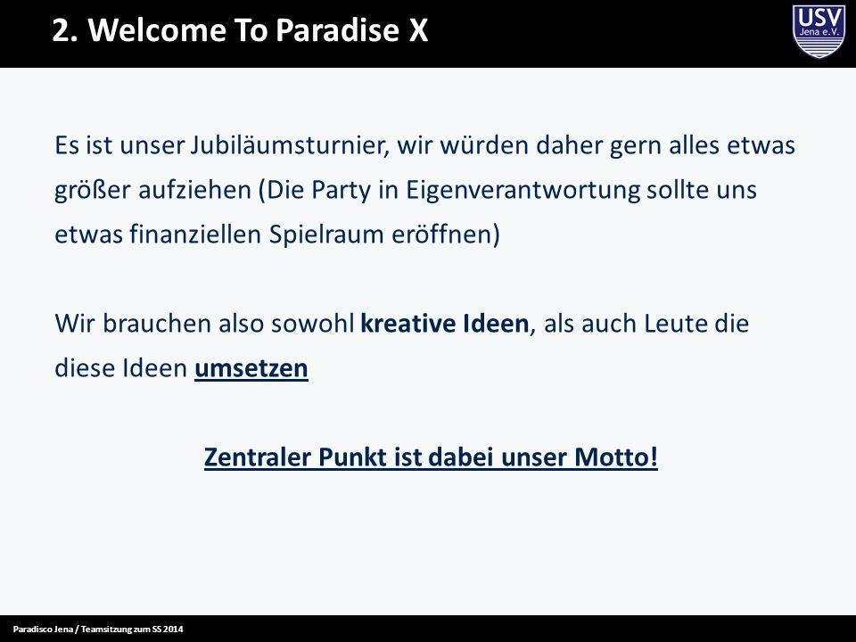 2. Welcome To Paradise X Es ist unser Jubiläumsturnier, wir würden daher gern alles etwas größer aufziehen (Die Party in Eigenverantwortung sollte uns