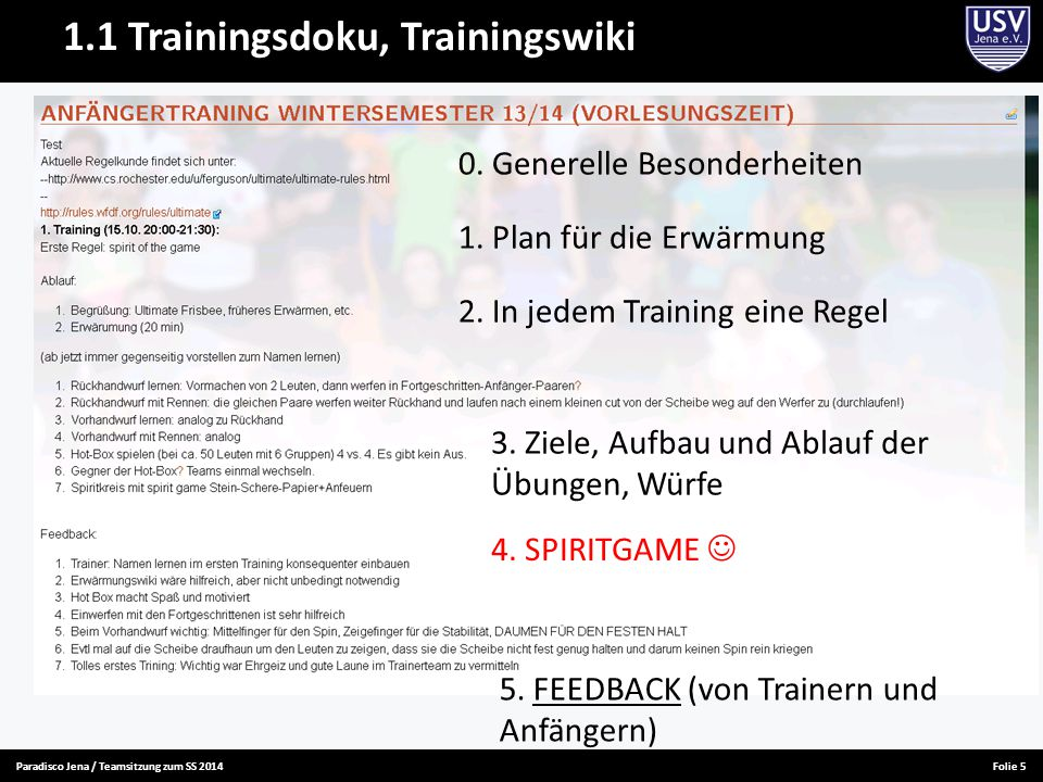 Paradisco Jena / Teamsitzung zum SS 2014Folie 5 1.1 Trainingsdoku, Trainingswiki 2.