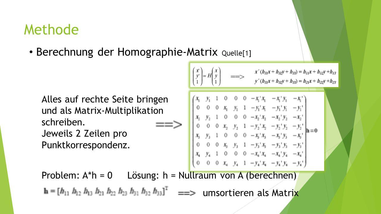 Methode Berechnung der Homographie-Matrix Quelle[1] Alles auf rechte Seite bringen und als Matrix-Multiplikation schreiben. Jeweils 2 Zeilen pro Punkt